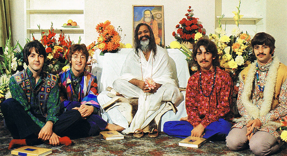 "The Beatles with Maharishi in 1968. Most of their ""White Album"" was written while studying with Maharishi in Rishikesh, India."